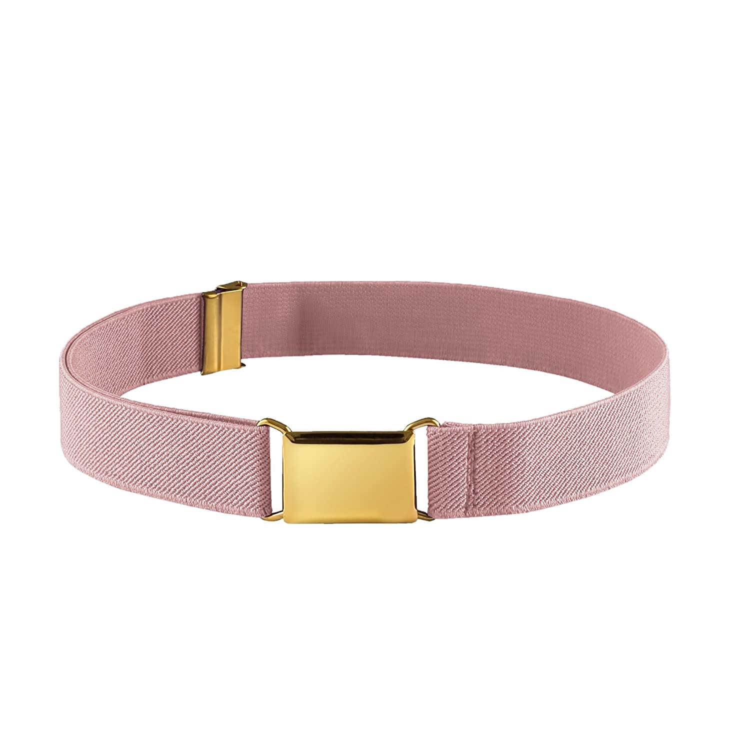 FIT RITE Kids Elastic Adjustable Stretch Belt With Gold Square Buckle (LT. Pink) 1991