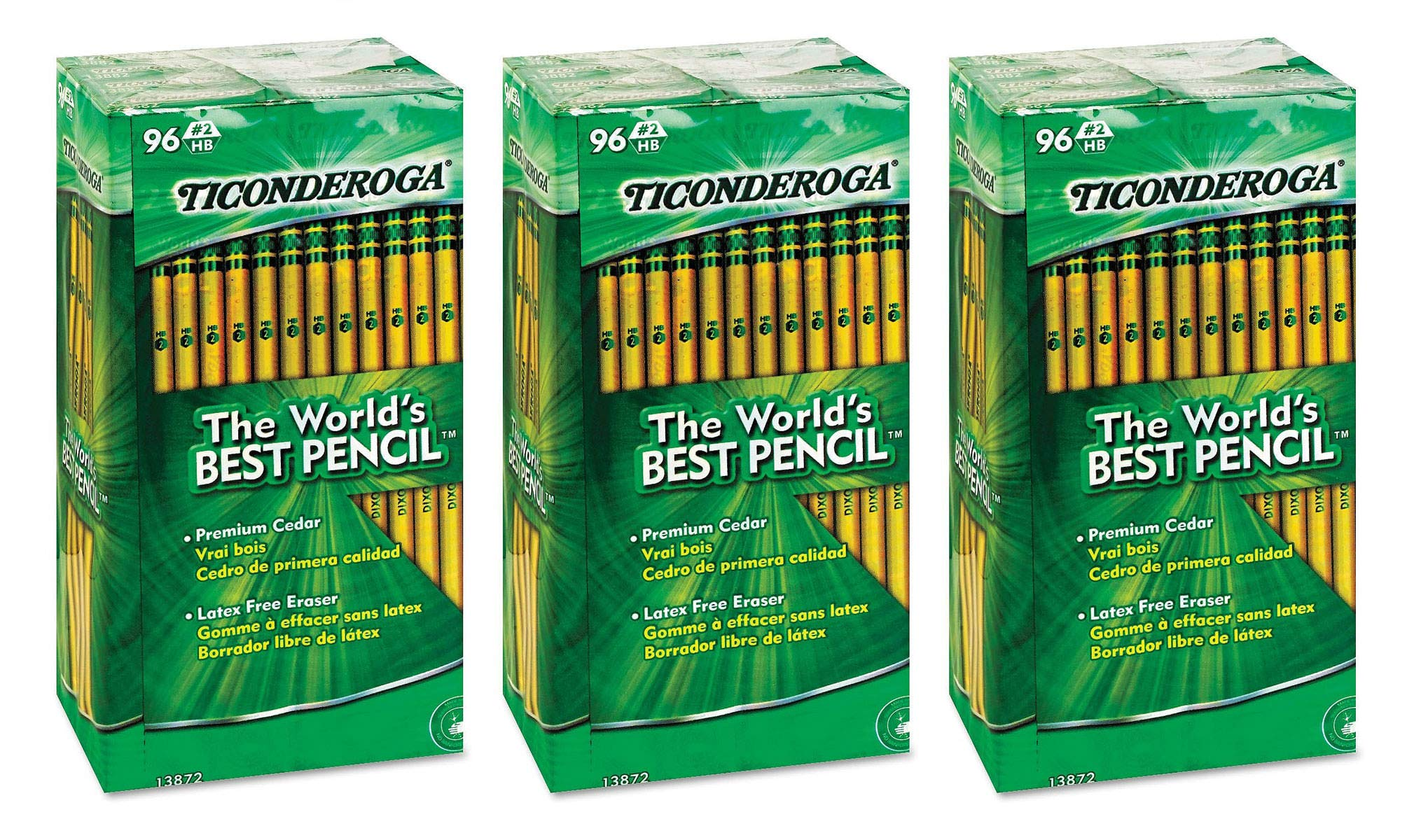 Ticonderoga dtyu Woodcase Pencil, HB #2, Yellow Barrel, 96/Pack 3 Pack by Ticonderoga