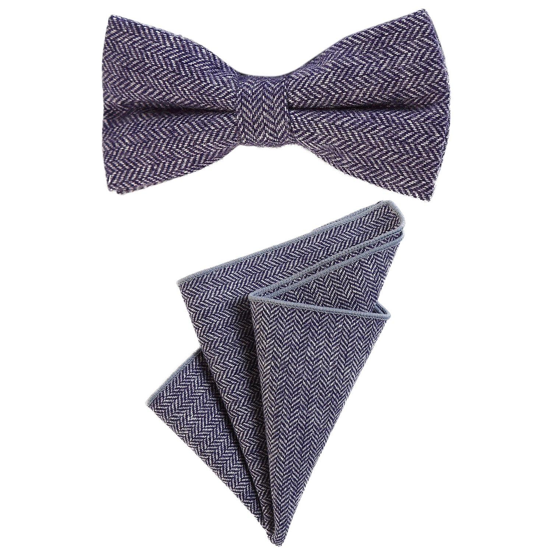 DonDon Herren Fliege 12 x 6 cm mit farblich passendem Einstecktuch 23 x 23 cm beides aus Baumwolle im Tweed Look kariert Hanky108-FLG160