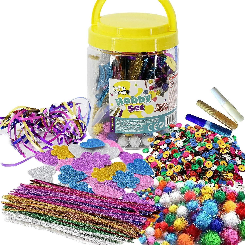 Mega Craft Jar Childrens Kids Giant Art Set Pom Poms Beads Paper Foam Stickers £5.99 @ Amazon
