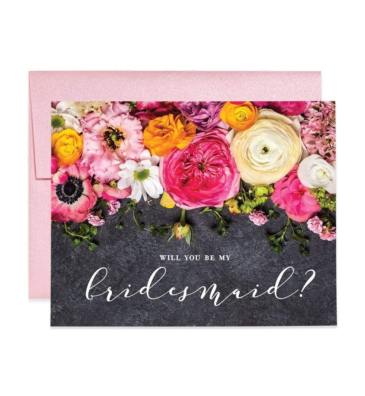 Rustic Bridesmaid Cards Will You Be My Brides maid? Proposal Box Pack (Set of 5) Chalkboard Floral Pink Blooms Card Five Wedding Bridal Party Cards Blush Pink Shimmer Metallic Envelopes CW0011-1