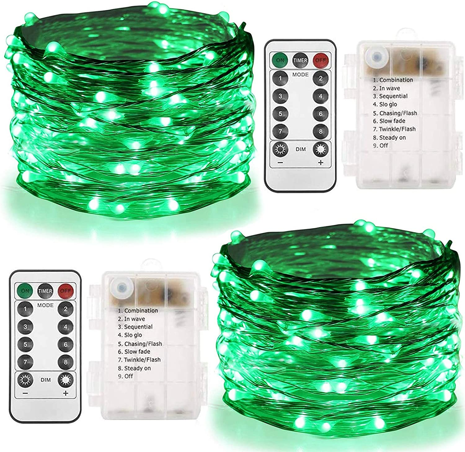 Twinkle Star 2 Set St Patricks Day Fairy Lights Battery Operated, 33ft 100 LED String Lights Remote Control Timer Christmas String Lights 8 Modes for Garden Party Outdoor Indoor Decor, Green