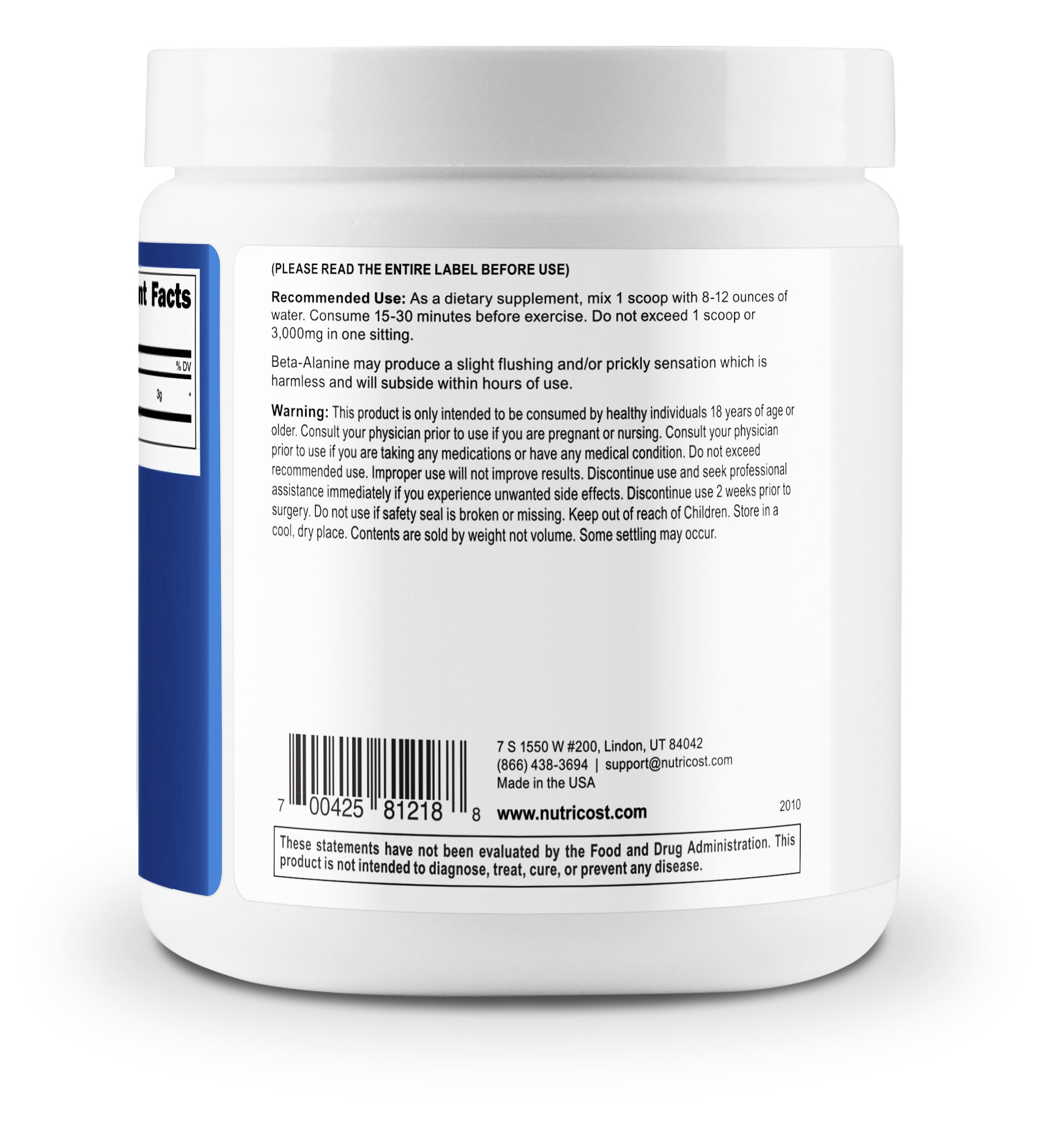 Nutricost Beta Alanine Powder 300 Grams - 3 Grams Per Serving by Nutricost (Image #3)