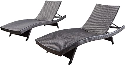 Amazon Com Christopher Knight Home Salem Outdoor Wicker Chaise Lounge Chairs Brown Set Of 2 Garden Outdoor
