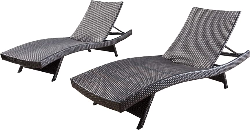 Round Folding Dining Table, Amazon Com Christopher Knight Home Salem Outdoor Wicker Chaise Lounge Chairs Brown Set Of 2 Garden Outdoor