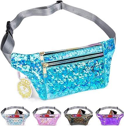Women Glitter Bum Bag Waist Fanny Pack Festival Money Wallet Belt Travel Pouch.