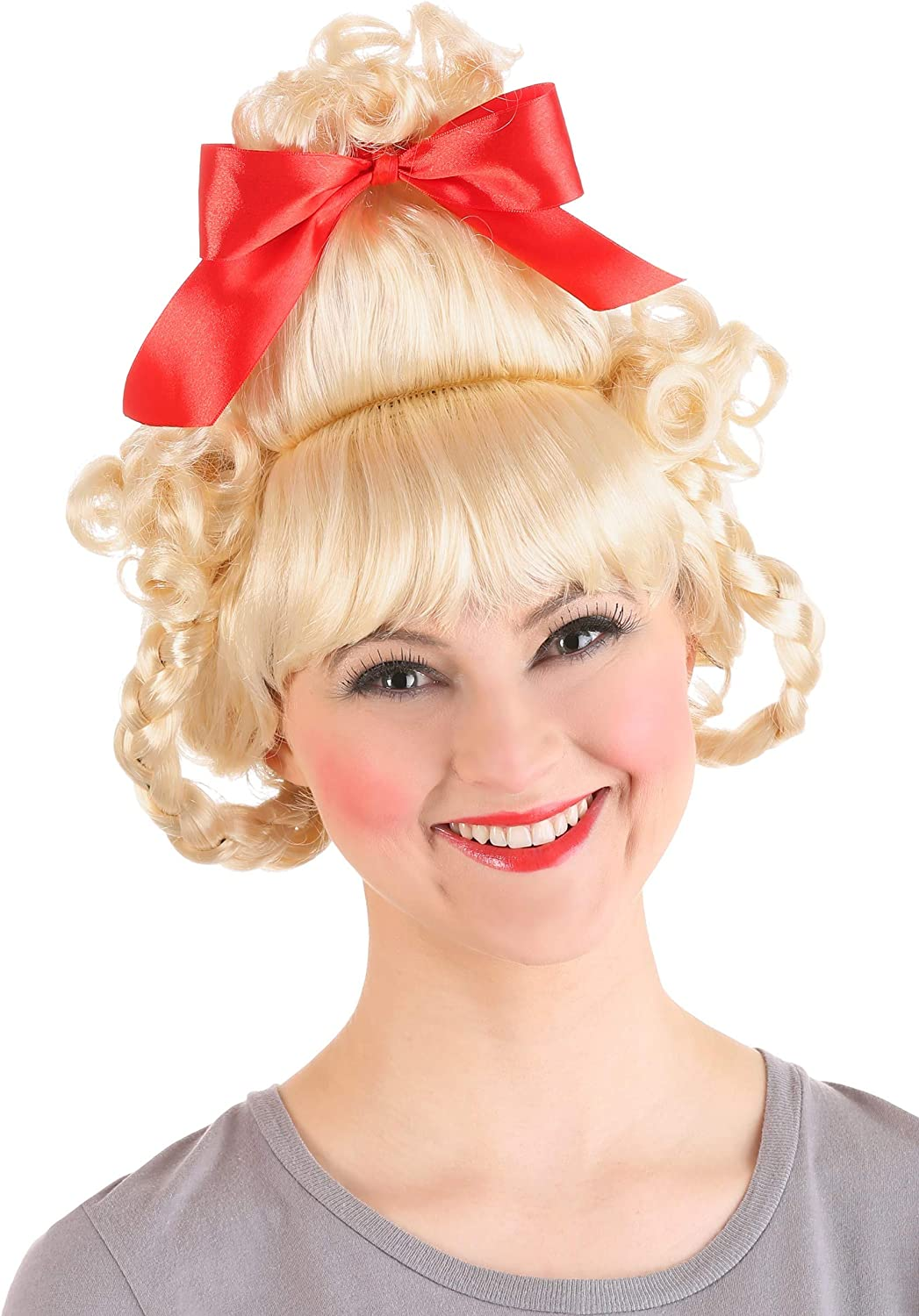 Blonde Christmas Wig Christmas Girl Blonde Wig Red Bow Wig