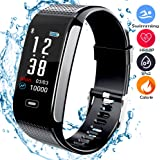 beaulyn Fitness Trackers with 8 Sport Mode Pedometer Heart Rate Blood Pressure Monitor Activity Tracker Watch Bluetooth IP67 Waterproof Color Screen for Android and IOS phones Kids Men Women
