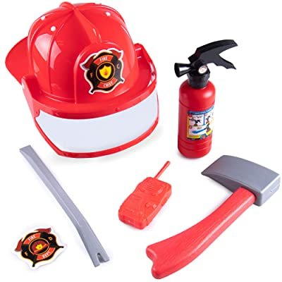 Hauntlook Firefighter Accessory Kit for Kids Costumes, Dress Up & Roleplay - Axe, Helmet: Clothing