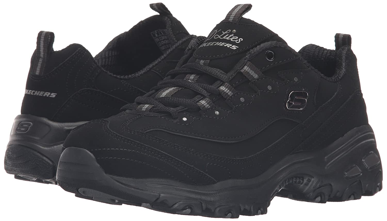 Skechers Women's D'Lites Memory Foam Lace-up Sneaker B01ESD641I 5 W US|Black/Black