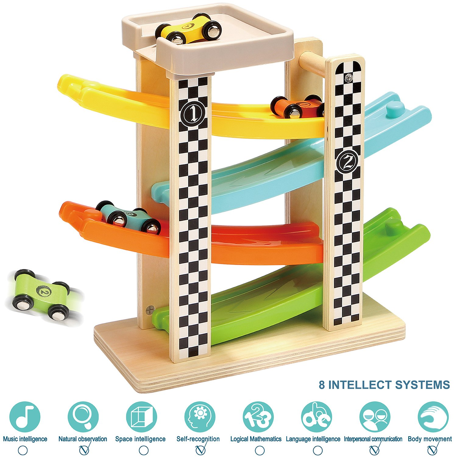 TOP BRIGHT Toddler Toys For 1 2 Year Old Boy And Girl Gifts Wooden Race Track Car Ramp Racer With 4 Mini Cars by TOP BRIGHT