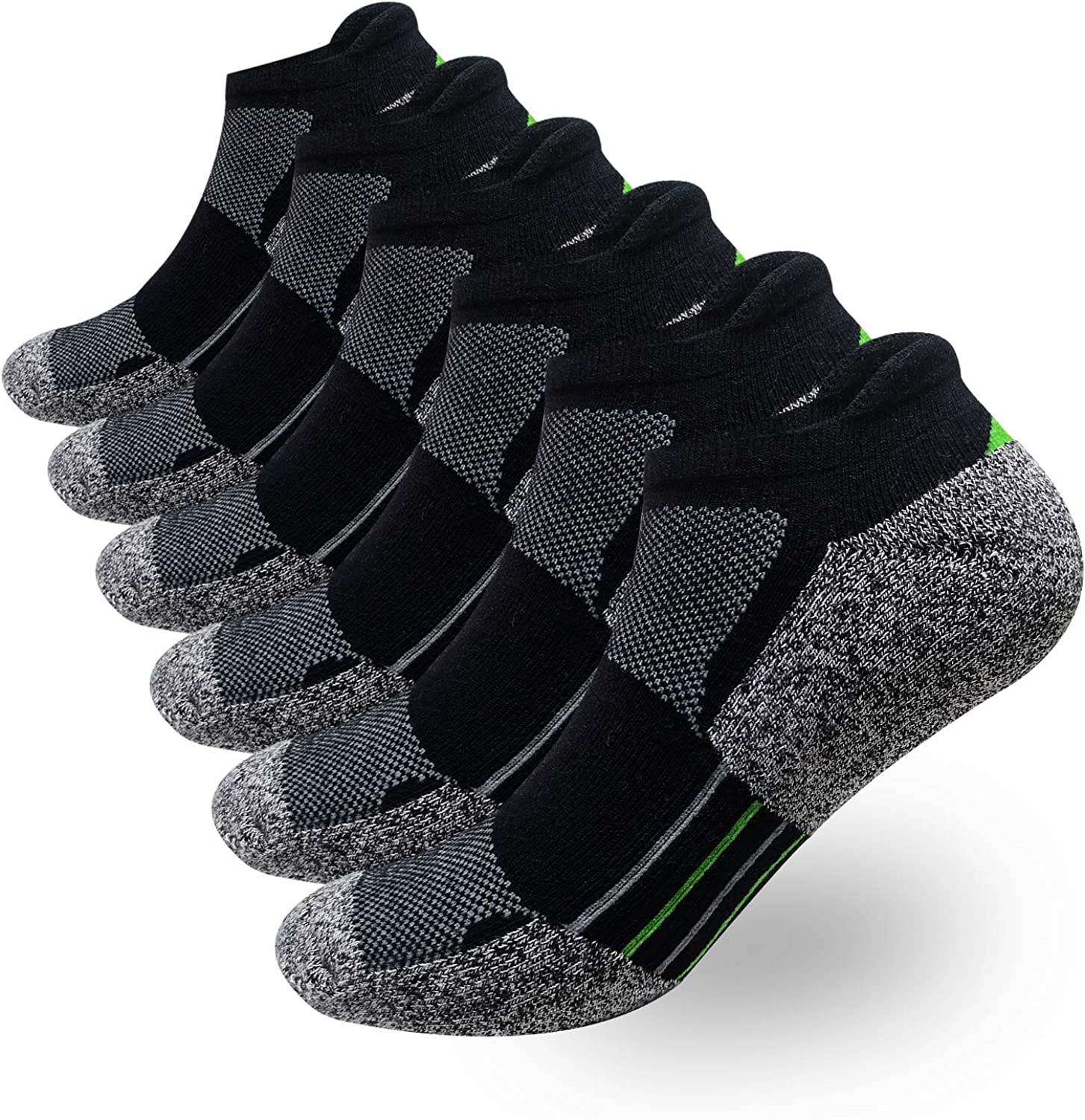 Men's Low Cut Athletic Socks Performance Comfort No Show Running Socks Sports Cushioned Tab