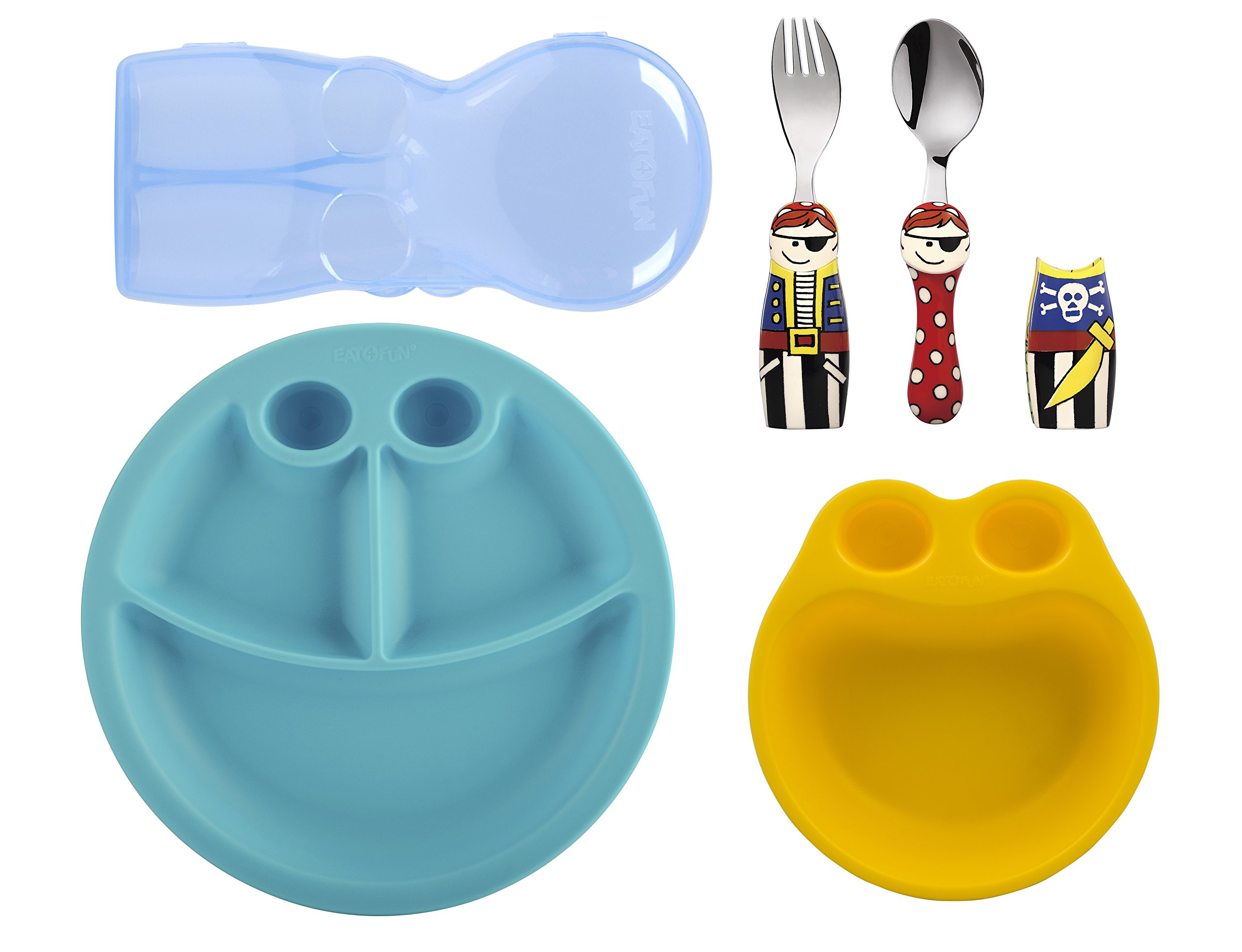 Eat4Fun Kids and Toddler Utensil Set - Pirate Fork & Spoon Plate and Bowl by Eat4Fun (Image #1)