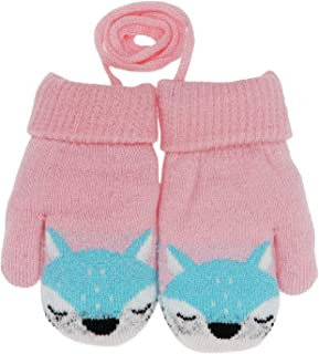 Toddler Boys Girls Winter Warm Knit Mittens with String Kids Baby Soft Thick Fleece Lined Gloves