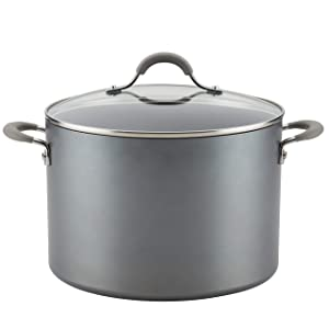 Circulon 81403 Elementum Hard Anodized Nonstick Stock Pot/Stockpot with Lid, 10 Quart, Oyster Gray