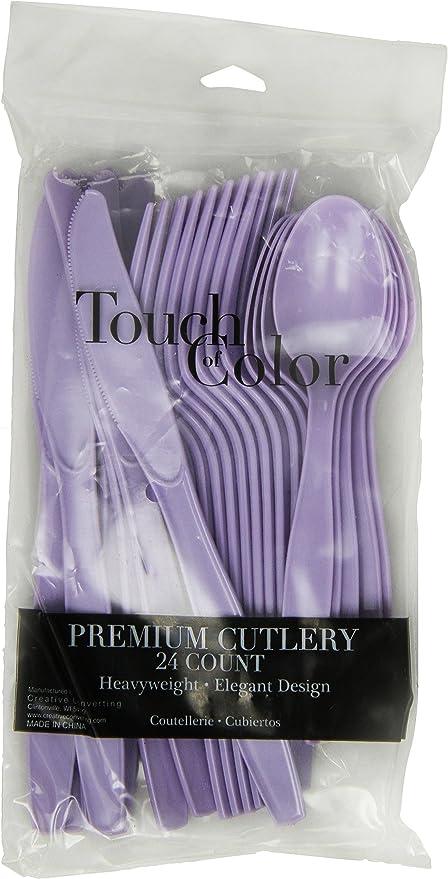 Creative converting Premium 24 Count Plastic forks Lavender heavy duty