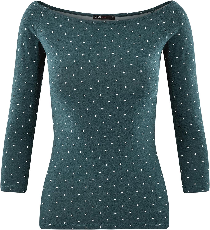 oodji Ultra Femme T-Shirt Manches 3//4 avec /Épaules D/énud/ées