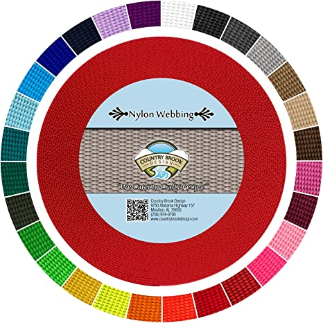 25 Yards Country Brook Design® 3//4 Inch Red Polypro Webbing