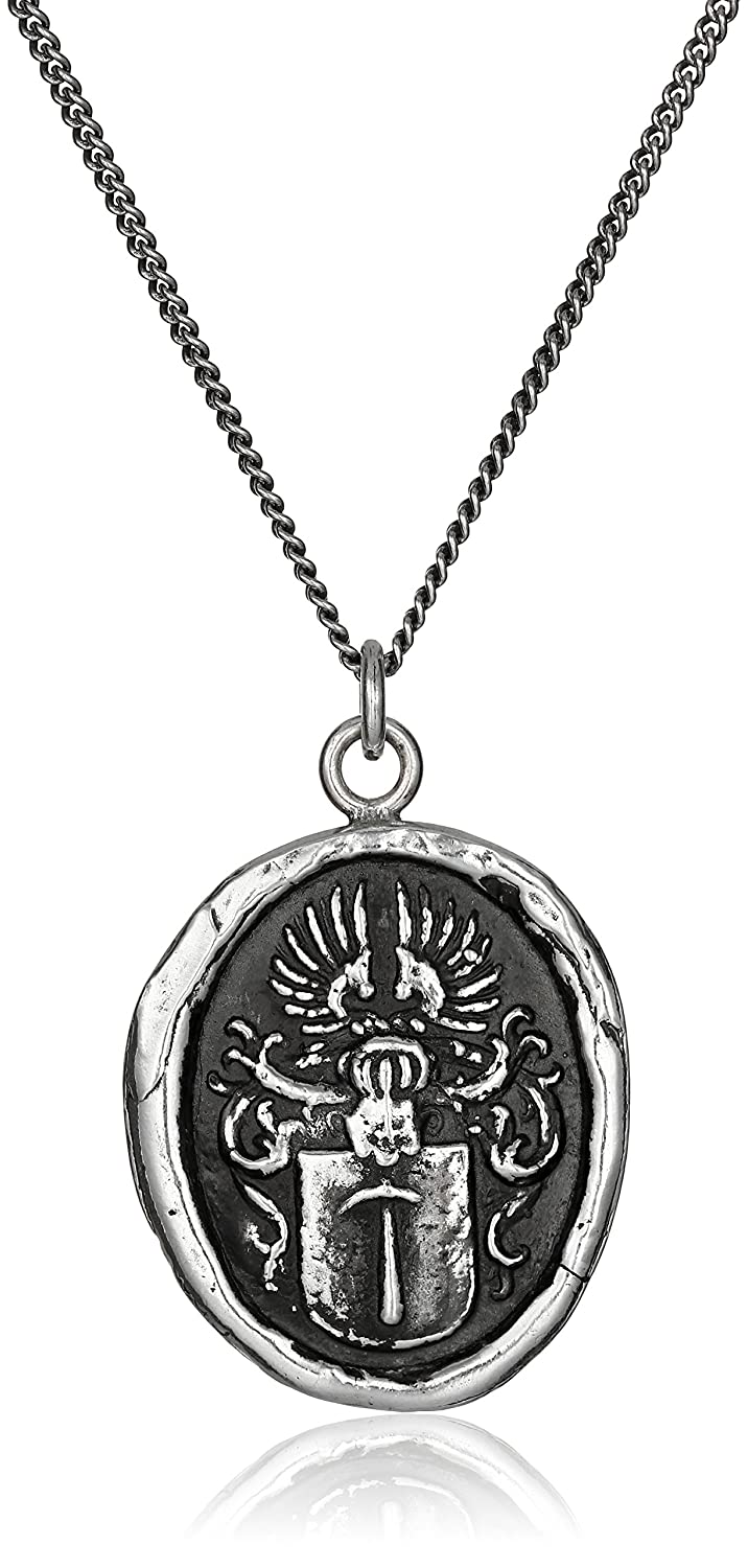 Pyrrha Talisman Men's Sterling Silver Defender Pendant Necklace, 22
