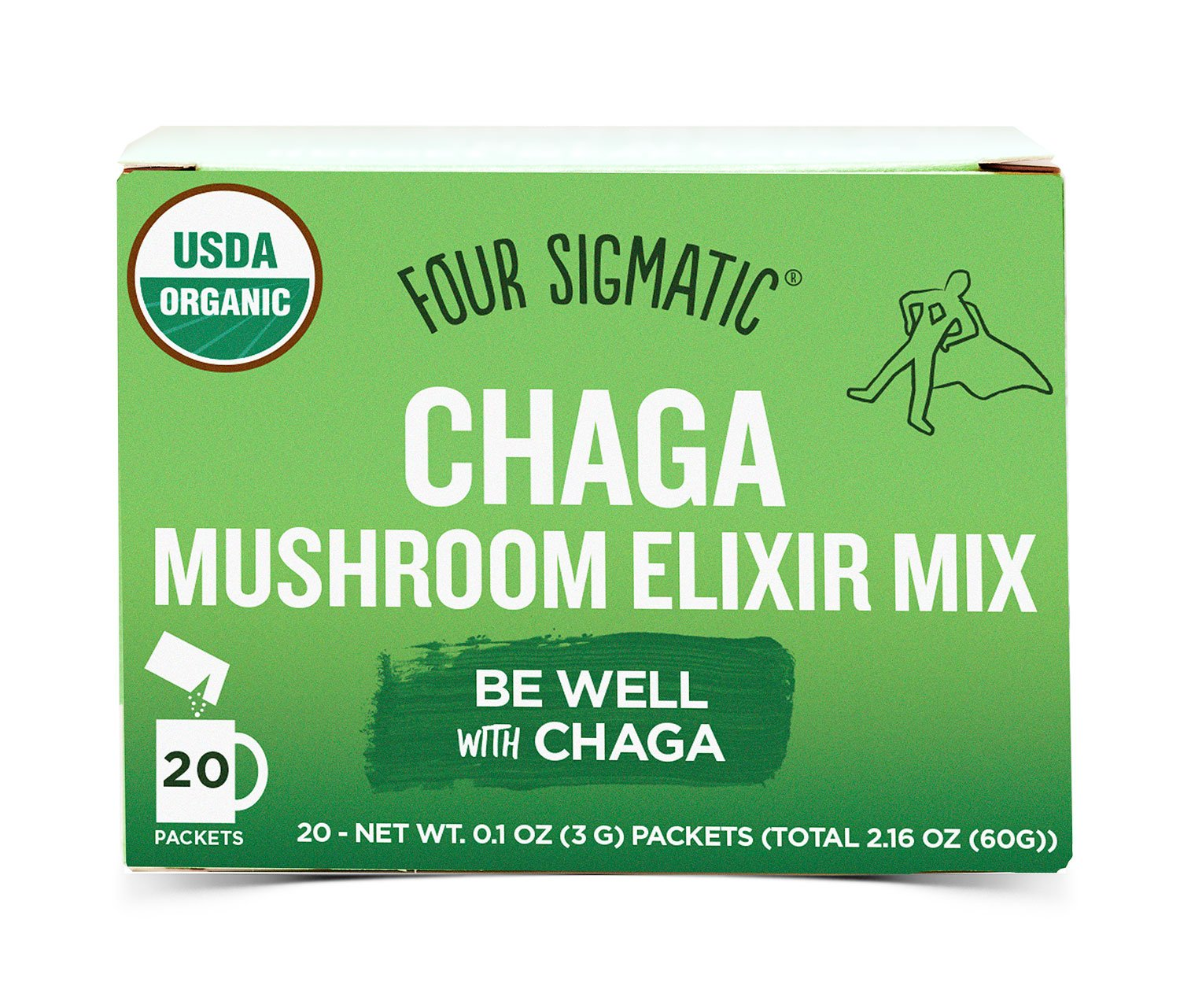 Four Sigmatic Chaga Mushroom Elixir, USDA Organic, wellbeing, Vegan, Paleo, 20 Count, Packaging May Vary