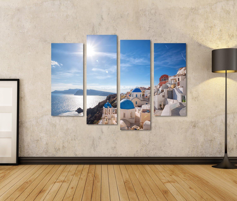Leinwandbild islandburner Bild Bilder auf Leinwand Oia-Dorf auf Santorini-Insel Griechenland Wandbild Poster