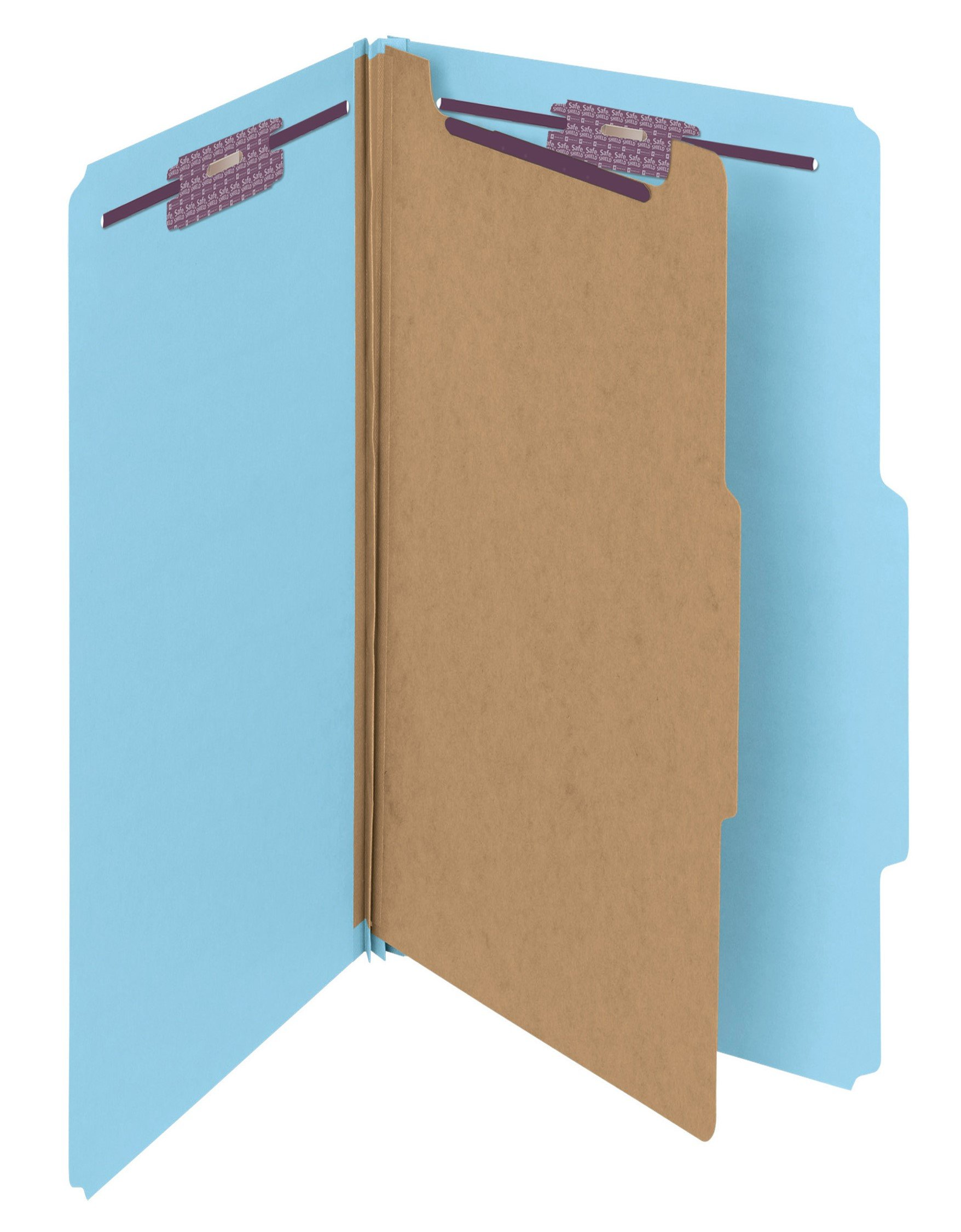 Smead Pressboard Classification File Folder with SafeSHIELD Fasteners, 1 Divider, 2'' Expansion, Legal Size, Blue, 10 per Box (18730)