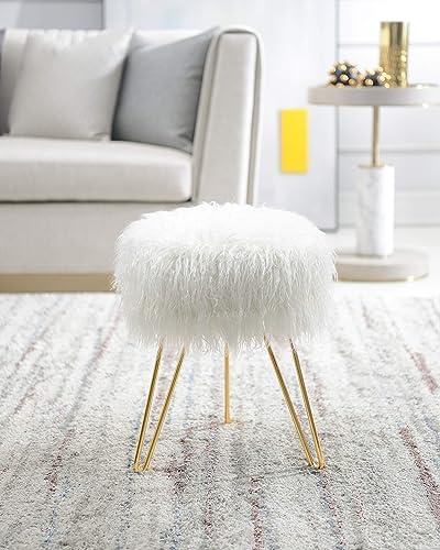 Reviewed: Comfortland White Faux Fur Vanity Stool Chair