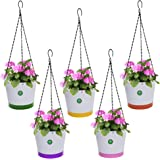 TrustBasket Crown Hanging Flower Pots/Planters- Set of 5 (Green, Orange, Pink, Purple, Yellow)