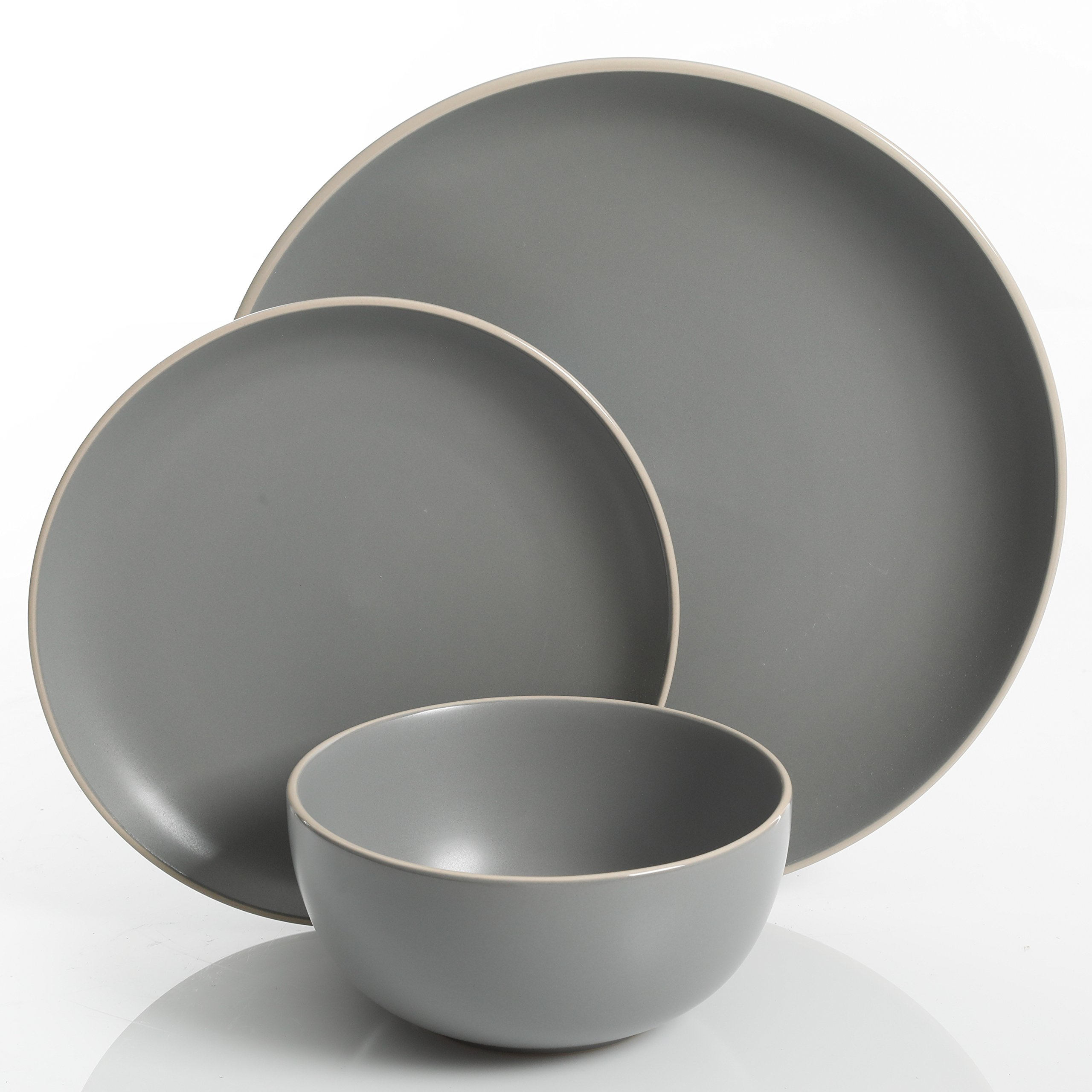 Gibson Home 114388.12RM Rockaway 12-Piece Dinnerware Set Service for 4, Grey Matte by Gibson Home (Image #2)