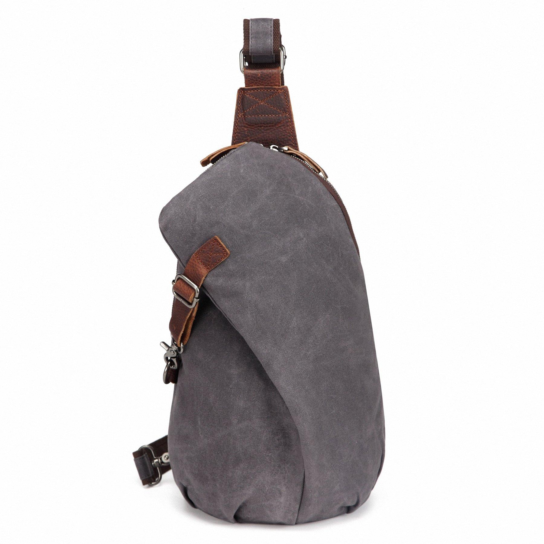 AOTIAN Men's Sling Backpack Waxed Canvas Crossbody Bag 10 Liters Gray - Purple, Warranty 2-Years