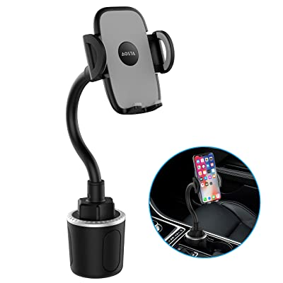 Updated Car Phone Mount with 360° Adjustable Gooseneck for Car Cup Holder, Hands-Free Car Phone Holder for iPhone, Samsung Galaxy, Google Pixel, Nexus, Moto and More [5Bkhe0806278]