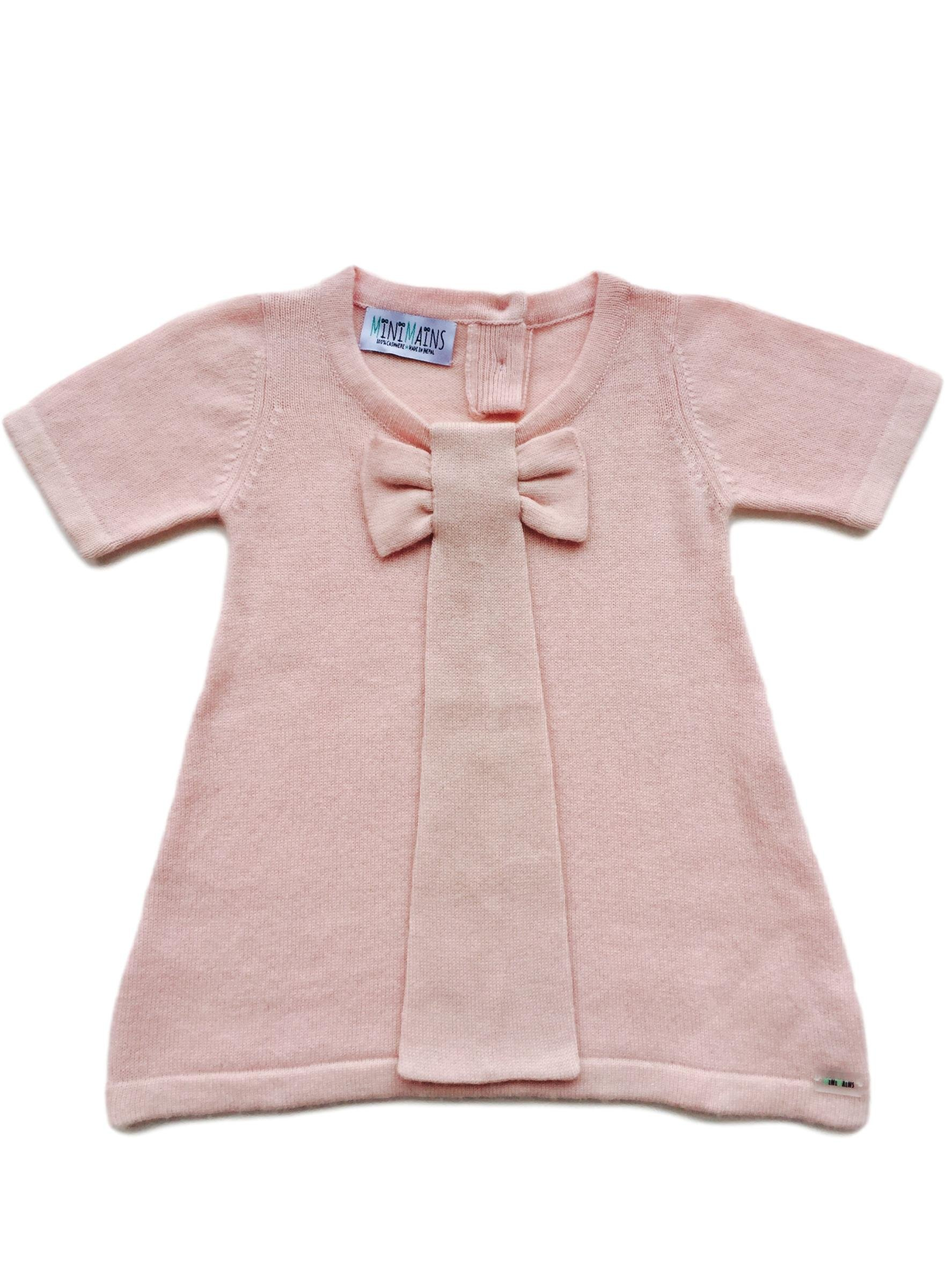 Minimains Little Girls' Pure Cashmere Lightweight Dress With Bow 2y Pink