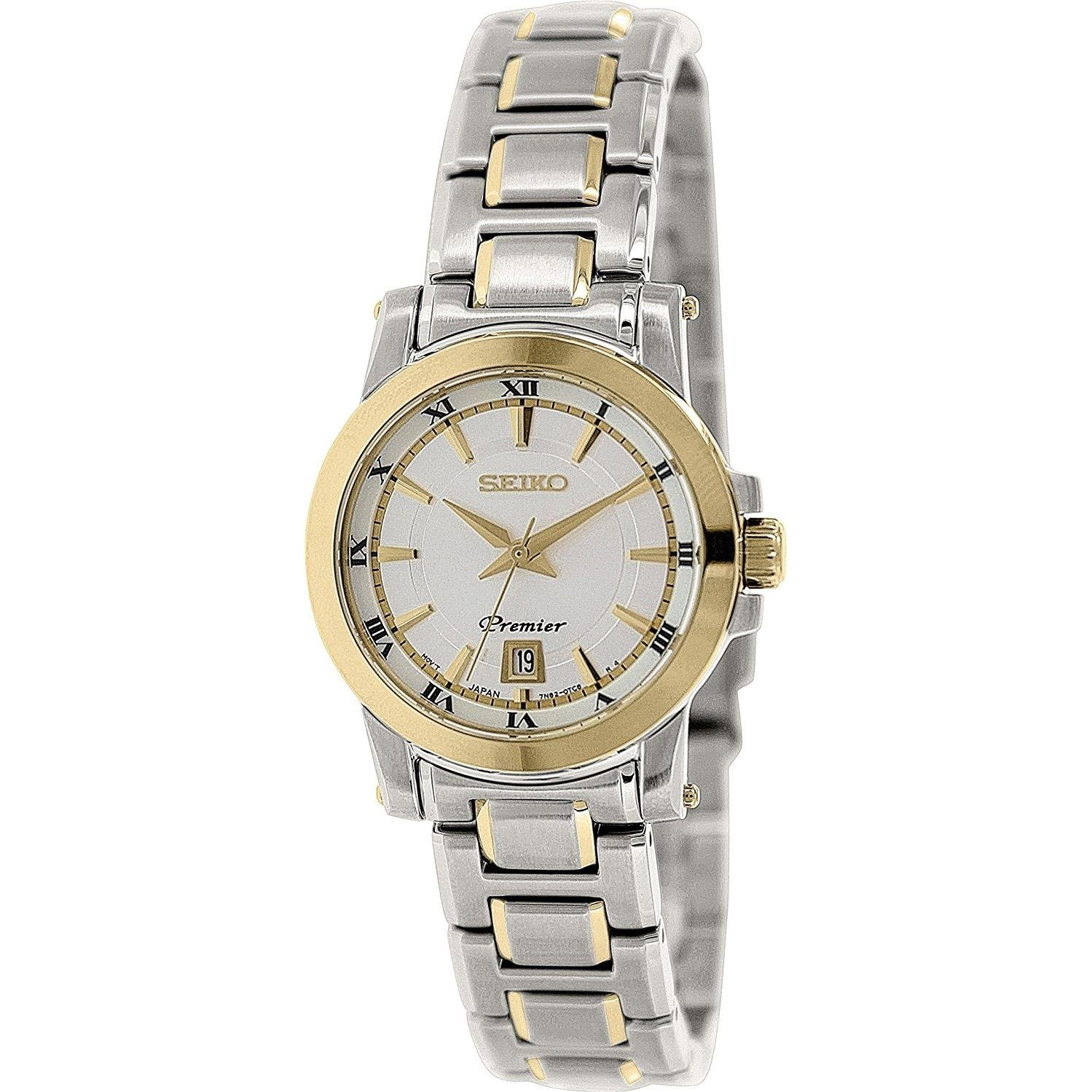Seiko SXDF44 Premier Gold Bezel Stainless Steel Ladies