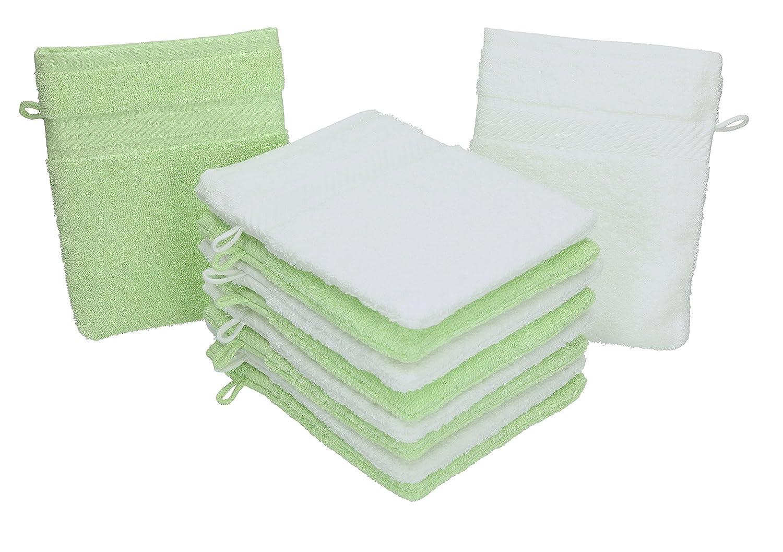 BETZ Lot de 10 Gants de Toilette Palermo 100/% Coton Taille 16x21 cm Couleur Blanc /& Vert