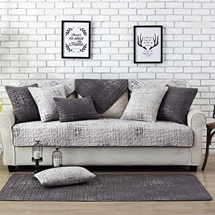 Lesic 100% Cotton Light Gray Couch Cover Anti-Slip Concise Style Sofa  Protector, 36X63inches(90X160cm) …