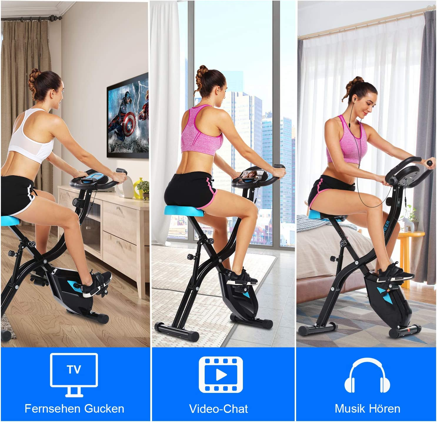 Compact Magnetic Recumbent Bike with 10-Level Resistance /& App Program /& Tablet Stand /& Comfortable Seat ANCHEER Exercise Folding Bike Stationary Cycle Indoor Upright Bike Recumbent Bike - E67