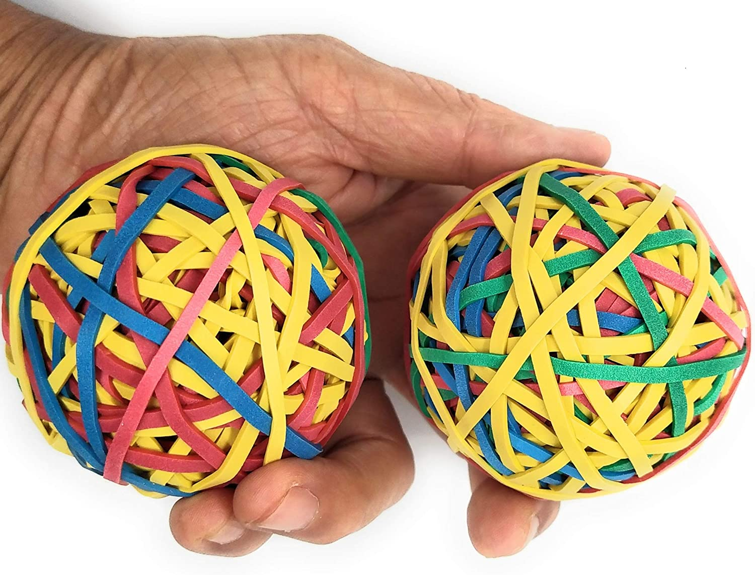 Assorted Color Rubber Band Ball (135 gm x 2) (>195 Rubber Bands per Ball) for DIY, Arts & Crafts, Document Organizing - Pack of 2 by Yosogo