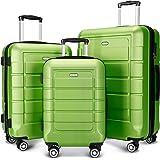 SHOWKOO Luggage Sets Expandable PC+ABS Durable Suitcase Double Wheels TSA Lock Green 3pcs