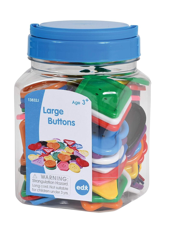 Math Manipulative Sensory and Fine Motor Skill Development Mini Jar Lacing Activity edx education Large Buttons