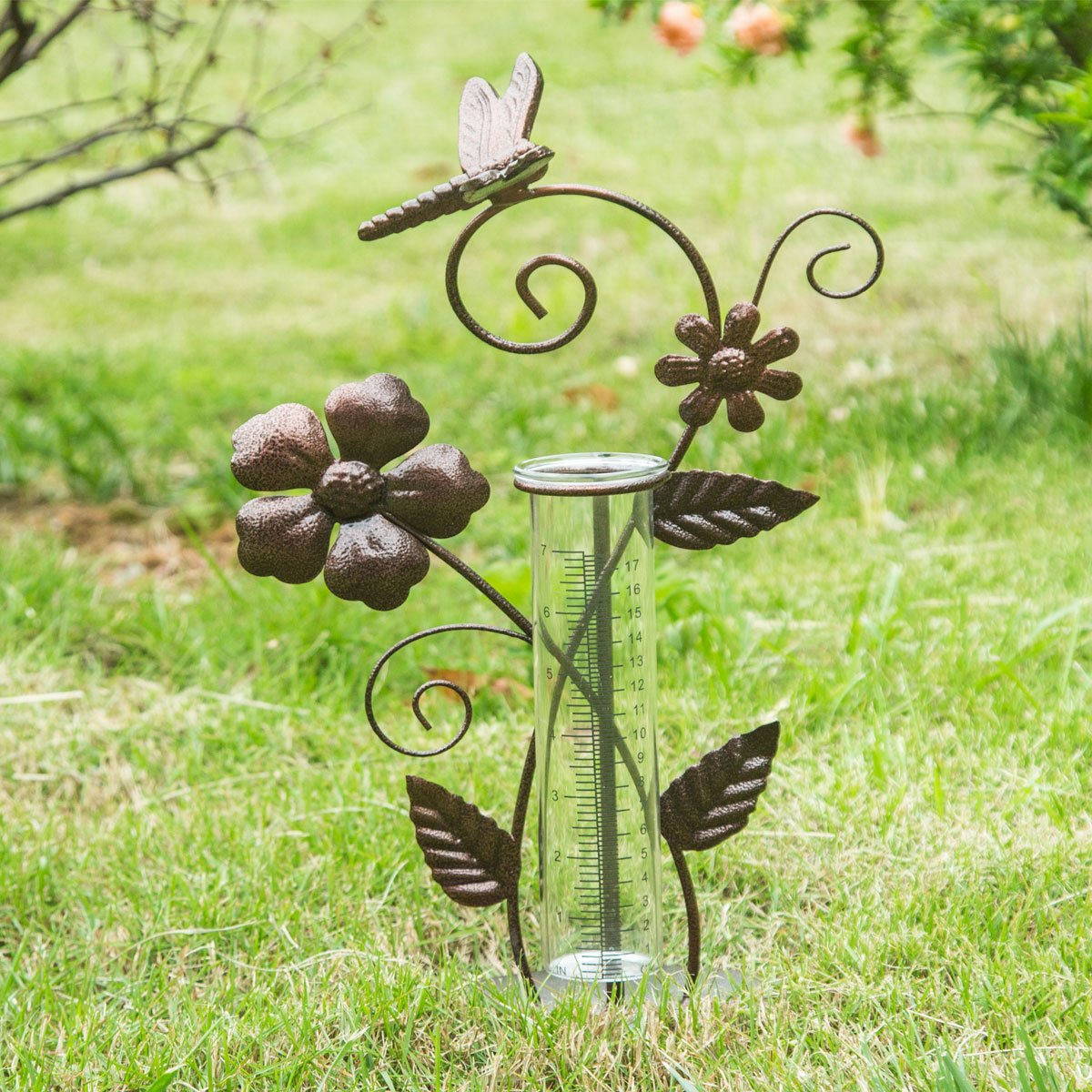 7'' Dragonfly Metal and Glass Spring Rain Gauge,Outdoor Decor