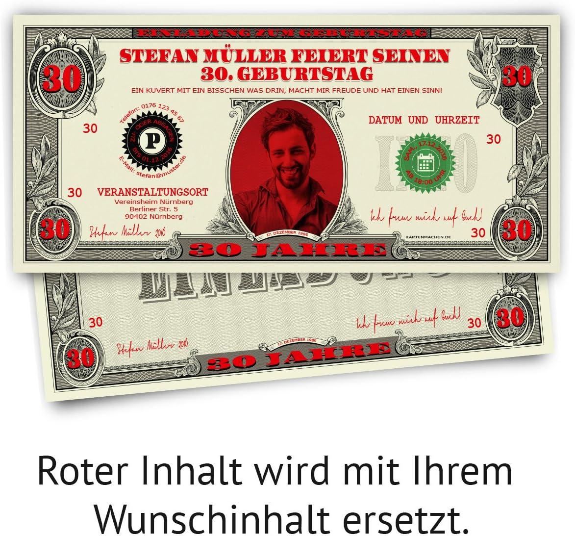 Einladungskarten Geburtstag Dollarschein Geldschein witzige Einladungen