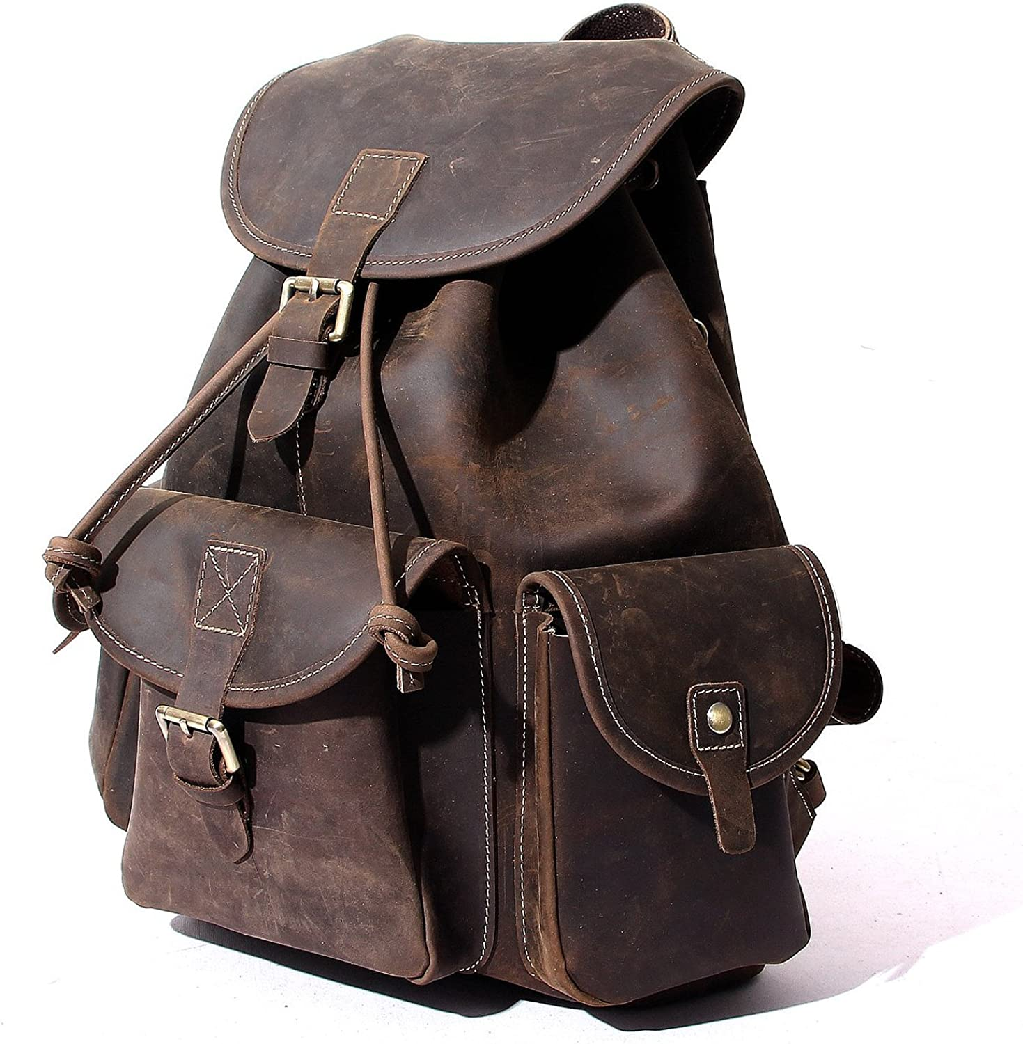 "18/"" Men/'s Real Leather Backpack Laptop Bag Large Travel Camping Carry On New"