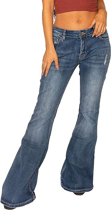 TALLA 36. Vaqueros Acampanados Efecto Roto para Mujer Jeans de Campana Estilo Flare - Azul