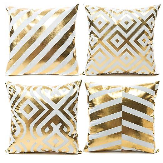 YNester - Funda de cojín de Franela Dorada Decorativa, 45 x 45 cm, Bronceado, para sofá, Cama, Regalo, Gold Flannel Bronzing, 45 x 45cm