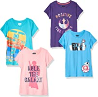 Amazon Brand - Spotted Zebra by Star Wars - Girls' Toddler & Kids 4-Pack Short-Sleeve T-Shirts