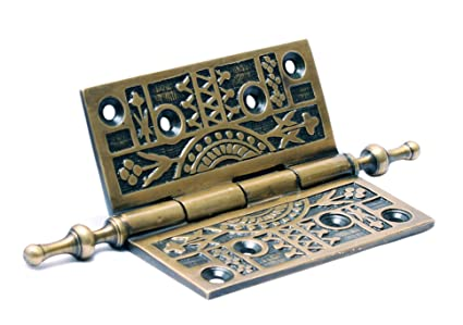 Victorian Style Solid Antique Brass Steeple Top Door Hinge 4u0026quot; Nesha  Design Components