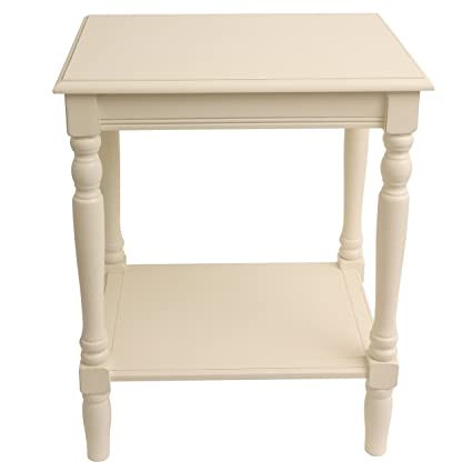 62d067f4757 Amazon.com  Painted Antique White End Accent Table with Bottom Shelf ...