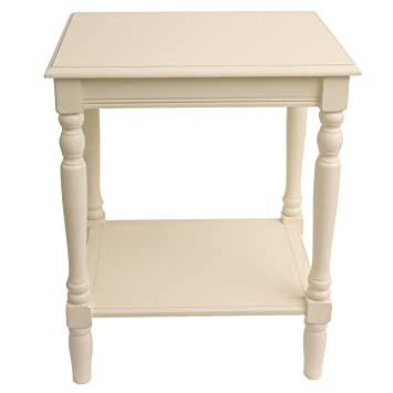 Merveilleux Painted Antique White End Accent Table With Bottom Shelf