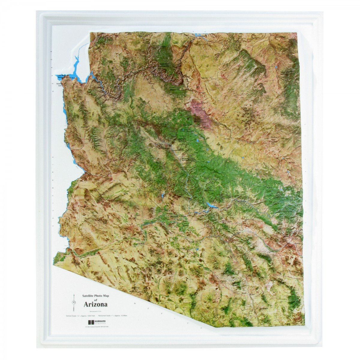Satellite Photo Map of Arizona (Raised Relief): USGS, Hubbard ...