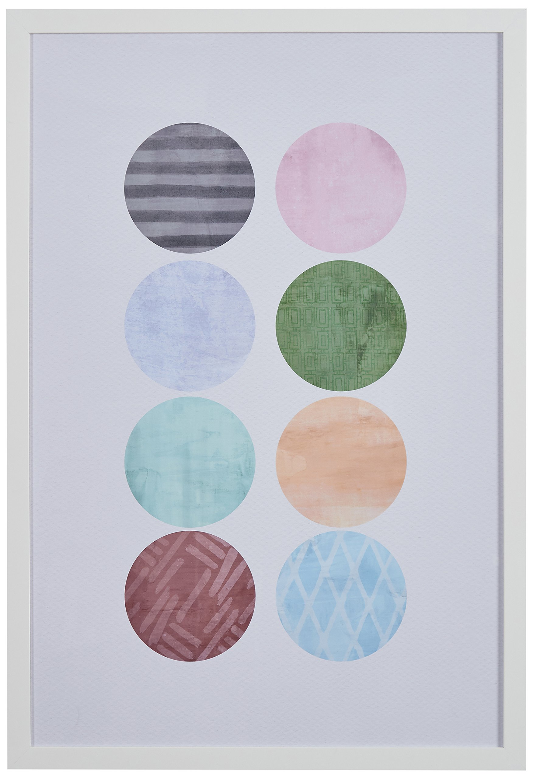Patterned Color Circles in White Frame, 18'' x 26''